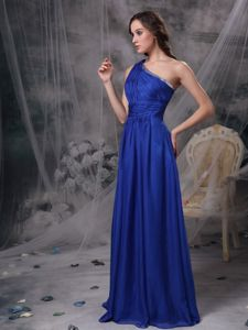 One Shoulder Beaded Royal Blue Homecoming Dress with Brush Train