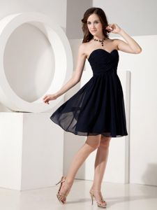Black Sweetheart Chiffon Homecoming Dresses with Ruches in Tampa
