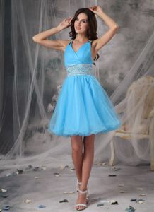 V-neck Organza Beaded Homecoming Queen Dresses in Aqua in Newark