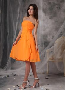 Orange Strapless Chiffon Homecoming Dress with Hand Flowers in Dover