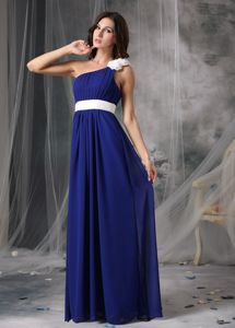Vintage One Shoulder Royal Blue Homecoming Dress with Handmade Flowers