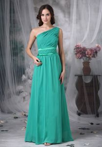 Classic One Shoulder Turquoise Long Homecoming Dresses Cheap
