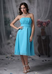 Strapless Ruched Aqua Blue Short Homecoming Dress for Sale Customized