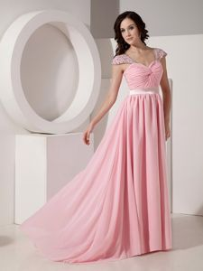 Baby Pink Long Homecoming Dress with Cap Sleeves in Bedford USA