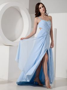 Affordable One Shoulder Slitted Beaded Homecoming Dress in Light Blue