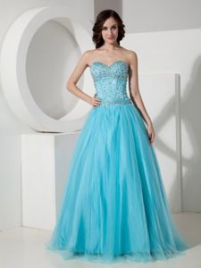 Sweetheart A-line Aqua Blue Homecoming Dress with Beads in Batesville USA