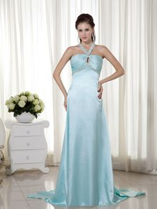 Light Blue Beaded Evening Homecoming Dress with Special Back Design