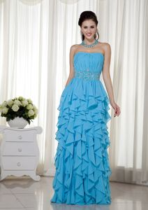Chiffon Ruffled Baby Blue Floor-length Dress for Homecoming Online Shop