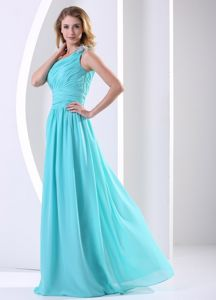 Plus Size One Shoulder Ruched Party Dress for Homecoming in Aqua Blue