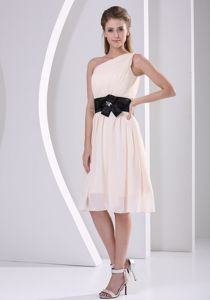 Fabulous One Shoulder Champagne Short Homecoming Dress under 100