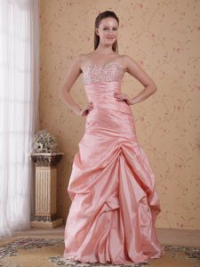 Beaded Baby Pink Formal Celebrity Homecoming Dress with Pick-ups