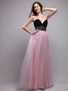 Black and Baby Pink Long Homecoming Queen Dress in Chesterton USA