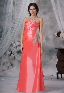 Strapless Watermelon Red Long Celebrity Homecoming Dress with Appliques