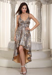 High-low Straps Animal Print Celebrity Homecoming Dress in Multi-color