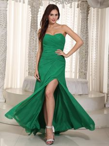 Cheap Dark Green Slitted Teenagers Party Dress for Homecoming Online