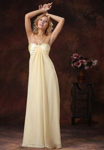 Spaghetti Straps Light Yellow Long Celebrity Homecoming Dress in Chiffon