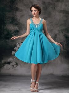 Girly Straps Beaded Aqua Blue Short Homecoming Dress in Danville Indiana