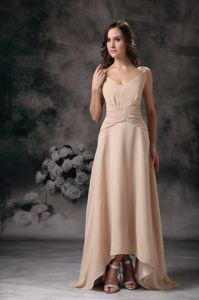 Spaghetti Straps Champagne Homecoming Dress with Asymmetrical Hem