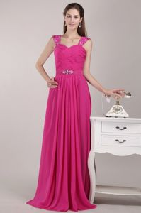Straps Beaded Fuchsia Long Evening Homecoming Dress for a Cheap Price