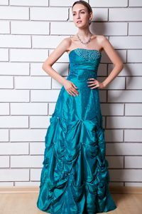 Plus Size Pick-ups Beaded Teal Long Evening Homecoming Dress Cheap