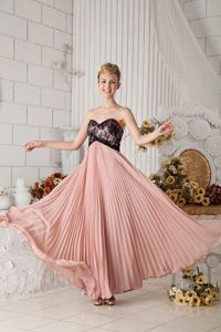 Pleated Peach Long Evening Homecoming Dress with Black Lace on Bodice