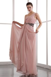 Vintage One Shoulder Peach Chiffon Homecoming Princess Dress with Appliques