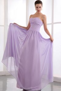 Best Beaded Lavender Empire Long Party Dress for Homecoming for Sale