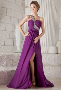 Simple One Shoulder Slitted Purple Evening Homecoming Dress Discount