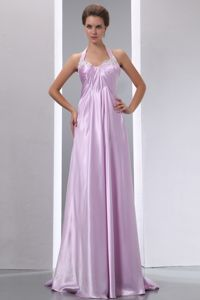 Elegant Halter Lavender Long Homecoming Dress for Teenagers Online Shop