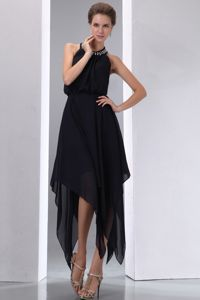 Halter Black Chiffon Evening Homecoming Dress with Asymmetrical Hem