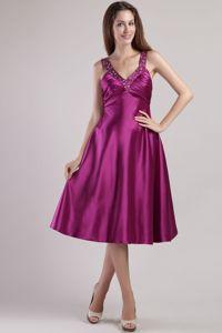 Cheap Crisscross Back Fuchsia Evening Homecoming Dress Tea-length