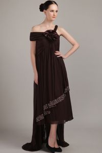 High-low Brown Homecoming Dress with Asymmetrical Neck under 150