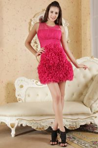 Scoop Neck Hot Pink Mini Homecoming Cocktail Dress with Ruffled Hem