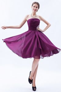 Strapless Ruched Purple Short Evening Homecoming Dress in Chiffon