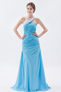 Pretty One Shoulder Ruched Baby Blue Long Homecoming Dress in USA