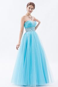 Girly Beaded A-line Baby Blue Homecoming Dance Dress in Jasper Indiana