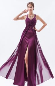 Cool Back Slitted Purple Long Evening Homecoming Dress with Straps