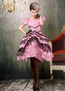 Ruffled Baby Pink and Black Homecoming Dress with Short Puffy Sleeves