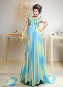 Straps Beaded Ombre color Chiffon Long Homecoming Dress for Sale