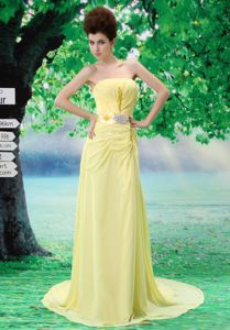Beautiful Court Train Yellow Teenage Dress for Homecoming on Sale