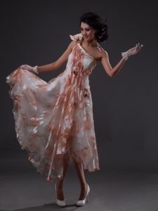 One Shoulder Printing Beaded Colorful Homecoming Dresses in USA