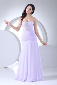 Columbus Popular Lilac Ruched Unique Homecoming Dress with Beading