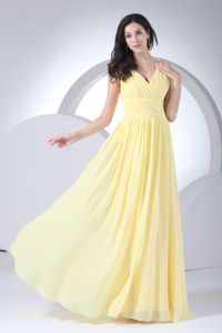 Empire V-neck Floor-length Ruched Yellow Chiffon Homecoming Dress