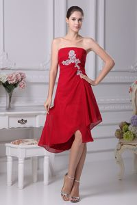 Strapless Asymmetrical Red Homecoming Dress with White Appliques