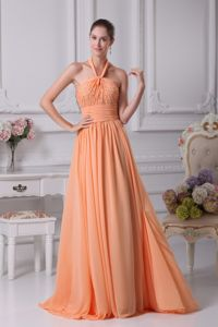 Peach Halter Ruched Classical Homecoming Dresses on Sale in Topeka