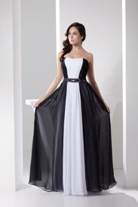White and Black Strapless Long Homecoming Gown with Beading Belt