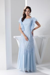 Ruffled Short Sleeves Ankle-length Prom Homecoming Dress in Light Blue