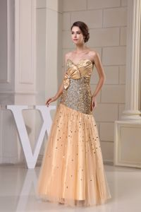 Sequined Gold Tulle Prom Homecoming Dress with Beading On Sale