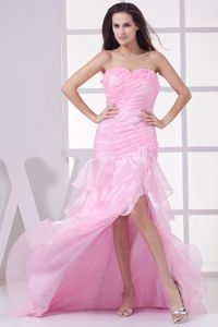 High Slit Asymmetrical Juniors Homecoming Dress with Ruffled Layers