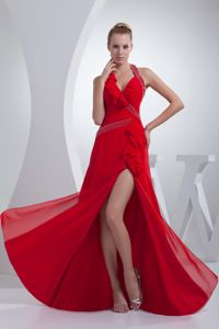 Red Beaded High Slit Halter Top Special Homecoming Dress on Sale